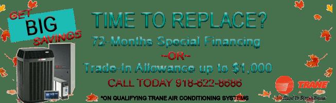 tulsa heat and air, trane dealers, tulsa ok, rebates, promo, specials, free furnace, free ac